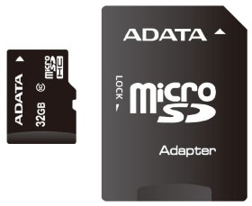 Флэш карта Micro SD 32Gb A-DATA Class 4 с адаптером SD