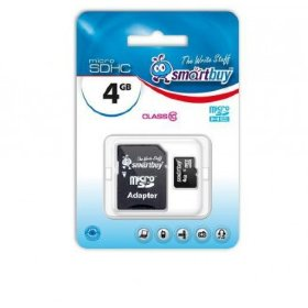 Флэш карта Micro SD 4Gb Smart Buy  Сlass 4 (с адаптером SD)